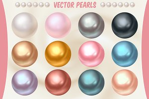Vector Pearls in Different Colors