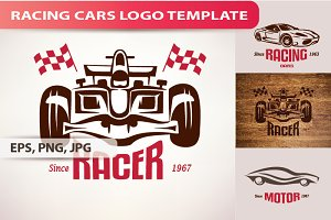 3 Racing Cars Logo Template