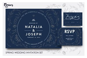 Beautifully illustrated wedd invites