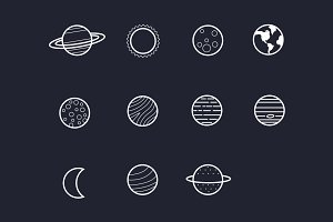11 Solar System Planet Icons
