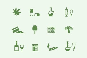 12 Drugs and Narcotics Icons