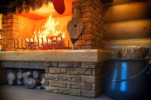 3D New year interior with fireplace