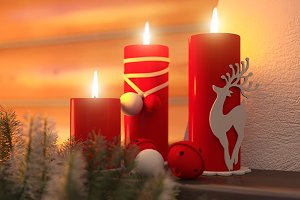 3D visualization of Christmas candle
