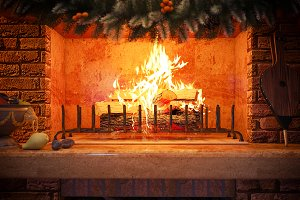 3D rendering Christmas interior