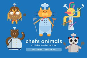 Chefs animals flat design.