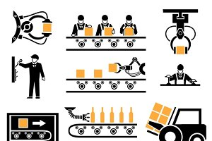 Manufacturing process icons set