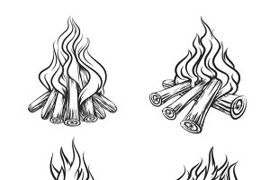 Hand drawn vector bonfire set