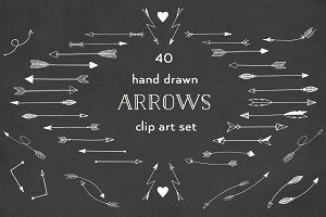40 White arrow clipart set