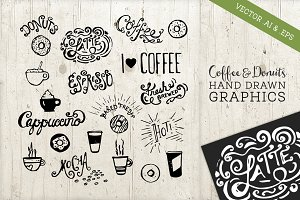 Hand Drawn Coffee Donuts Vectors