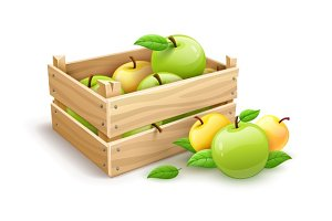 Apple fruits garden harvest in wooden box