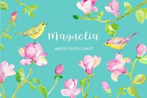 Watercolor Clipart Magnolia