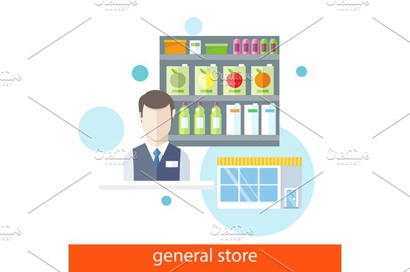 Shelfs with Food. General Store - Illustrations