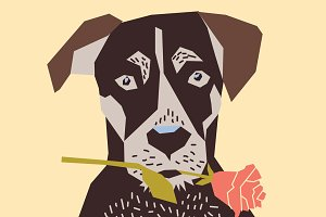 Vector dog with rose card