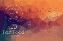 20 fast food line icons