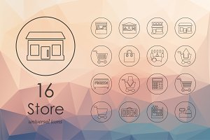 16 store line icons