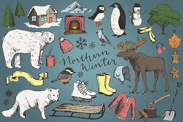 Snowy Winter Illustrations/Clipart