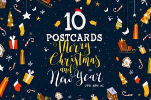 10 Christmas and New Year Postcards