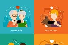 Vector selfie design concepts