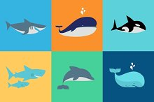 Vector set of whale, dolphin, sharks