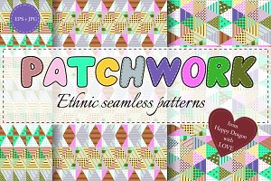 Ethnic seamless patchwork patterns