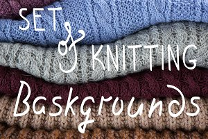 Set of knitted backgrounds