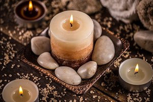 Stones and aromatic candles