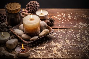 Composition with candles and stones