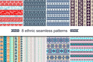 8 Unique ethnic seamless patterns