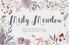 Misty Meadow Floral Clipart Set