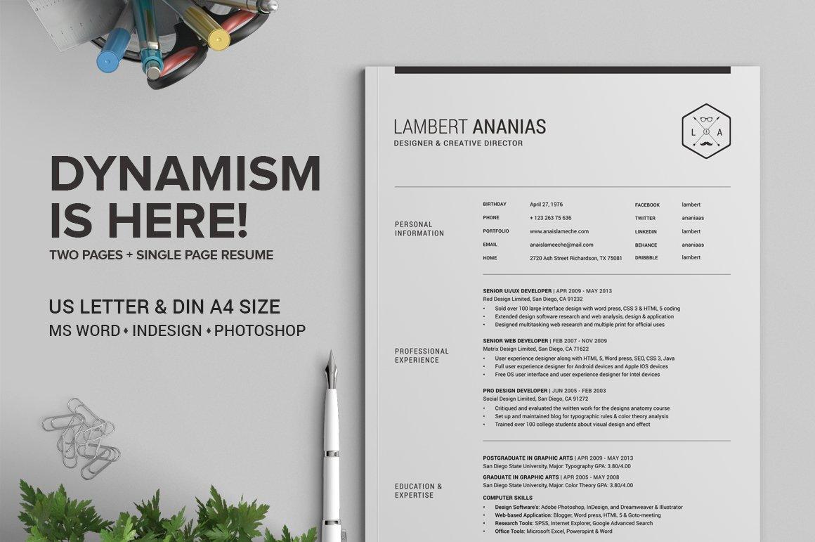 2 Pages Resume CV Pack - Lambert ~ Resume Templates ~ Creative Market