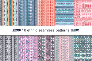10 Unique ethnic seamless patterns