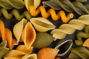 Colorful Pasta on Black Slate