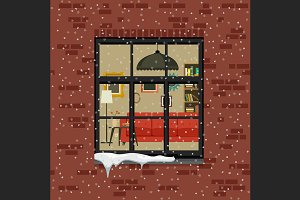 Winter window in brick wall