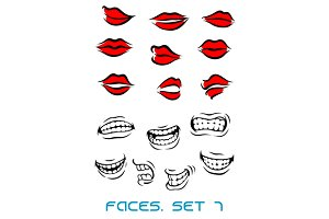 Cartooned lips and mouth set