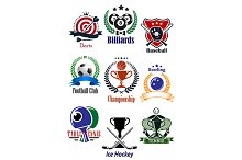 Colored sports tournaments emblems s