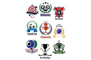 Colored sports tournaments emblems s