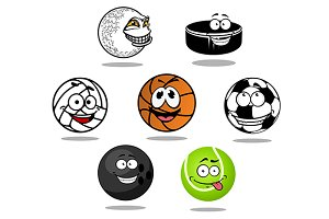 Cartoon game balls characters