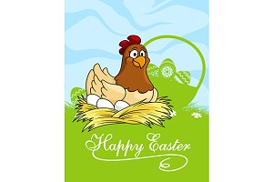 Happy Easter card design with a hen