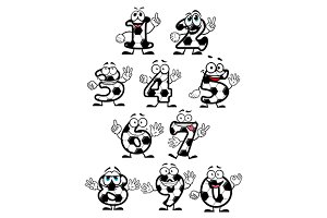 Soccer numbers cartoon characters