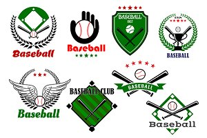 Creative baseball sports emblems and