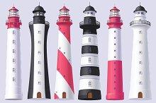 Lighthouse, light house, beacon set