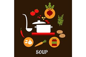 Recipe of vegetarian soup with flat