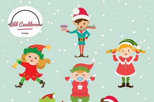 Christmas elves vector clipart CL004