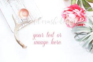 Pink Floral Nature Desk Mockup