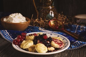 Ricotta gnocchi with berry sauce