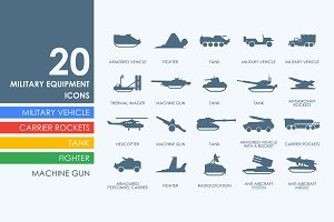 20 military equipment icons