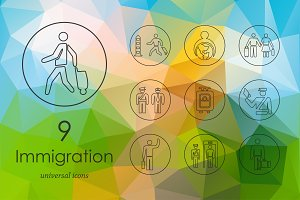 9 immigration line icons