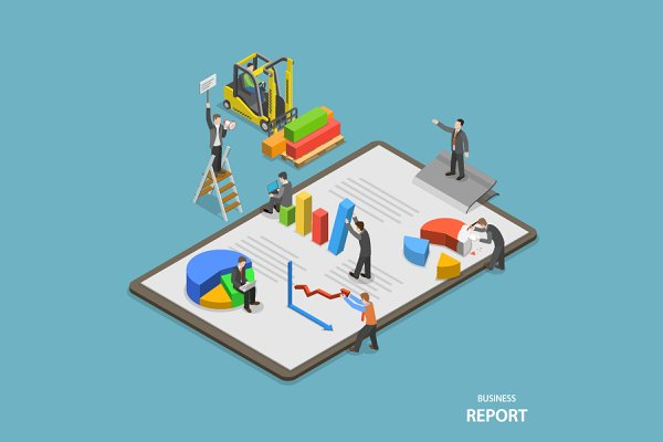 Business report isometric concept