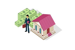 Isometric Icon Businessman Bank Cash