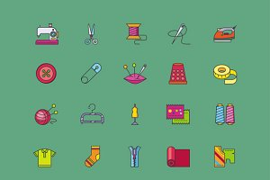 Set Icons of Creative Sewing